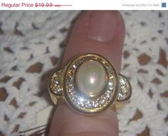 FALL SALE Vintage gold toned ring with large by PaganCellarJewelry, $14.99