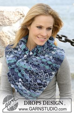 "Crochet DROPS scarf in ""Fabel"" with shell pattern ~ DROPS Design"