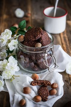 Chocolate, olive oil and hazelnut cookies