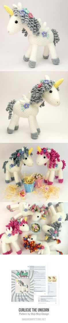 "Curlicue The Unicorn Amigurumi Pattern - so adorable! ""Curlicue The Unicorn Amigurumi Pattern Janine Holmes' unicorn Love Crochet"", ""Child Knitting Patt Cute Crochet, Crochet For Kids, Crochet Crafts, Yarn Crafts, Crochet Baby, Crochet Projects, Knit Crochet, Baby Knitting, Crochet Amigurumi"