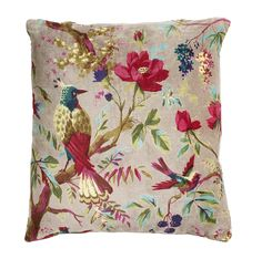 Nordal Sand Velvet Bird Cushion - I have a funny obsession with cushions! Shabby Chic Cushions, Cute Cushions, Floral Pillows, Decorative Throw Pillows, Bird Prints, Flower Prints, Bird Pillow, Textiles, Velvet Cushions