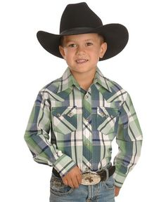 Toddler Boy western shirts | Kids Boys' Clothing Boys Western Shirts Wrangler Boys' Retro Green ...