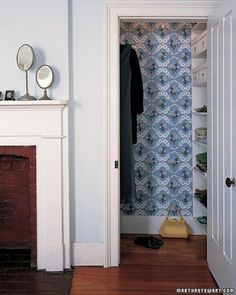 Clothes Quarters  For the clotheshorse in your family, the closet is a sacred place. Upgrade your garments' home with wallpaper that coordinates with your room's décor. An inspired closet may even make the process of selecting an outfit easier!