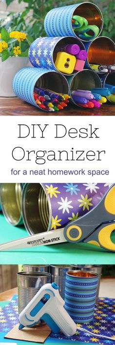 Looking for back to school crafts and diy organizing ideas?  Here is a DIY desk organizer that is creative and inexpensive.  It's an eco friendly way to organize your homework desk or office space! #ad #craft #diy