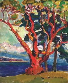 Arbutus Tree by Emily Carr. Tom Thomson, Canadian Painters, Canadian Artists, Klimt, Emily Carr Paintings, Arbutus Tree, Impressionist Paintings, Painting Inspiration, Les Oeuvres