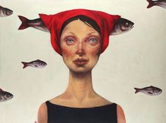 Inspiring and Experimental Portrait Paintings. Afarin Sajedi is an Iranian artist who creates outstanding portrait paintings of women, often in bizarre con Art And Illustration, Inspiration Art, Art Inspo, Collage Kunst, 3d Art, Pop Surrealism, Fish Art, Painted Ladies, Surreal Art