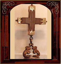 Antique 14kt GOLD Victorian Cross FOb BRooch
