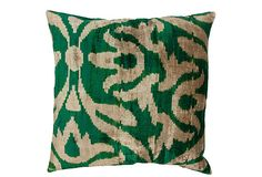 Silk Velvet Ikat Pillow, Emerald on OneKingsLane.com