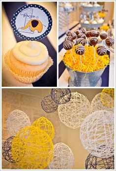 Yarn around balloons for hanging decor. Yellow crinkle paper in galvanized buckets - perfect