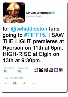 TIFF 2015. I Saw The Light premieres at Ryerson on 11th at 6pm!!!!! https://twitter.com/colliderfrosty/status/635954874765586432