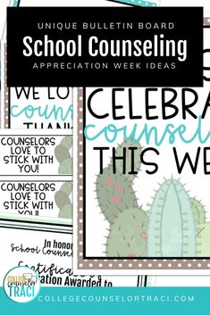 Are you looking for National School Counseling Week Ideas? Shop College Counselor Traci for more designs! This cactus themed school counseling celebration set is great for celebrating and thanking the counselors in your school! Check out this resource to help you honor your school counselors!  #schoolcounseling #nationalschoolcounselingweek #NSCW #counselorappreciation School Counseling Office, School Counselor, Counselor Bulletin Boards, National School Counseling Week, College Success, I School, Classroom Management, Cactus, Celebration