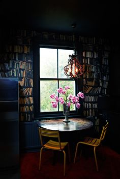 book room... love the old fashioned lamp!