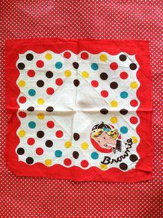 Vintage 1940s Brownie Girl Scout Handkerchief by AttictreasuresNY