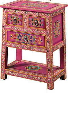 Handpainted indian cabinet, 3 drawers, pink www.namaste-uk.com