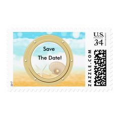 Cruise Ship Save the Date Beach Shells Cruise Ship Save Date Wedding Stamps