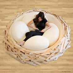 Giant-Birdsnest-by-OGE hero - The Bird Nest Bed is a fusion of furniture and playground, combining comfort with design. The nest comes in four different sizes and many wood finishes Bed Life Cozy Furniture, Unusual Furniture, Furniture Design, Bedroom Furniture, Funny Furniture, Modular Furniture, Furniture Removal, Farmhouse Furniture, Industrial Furniture