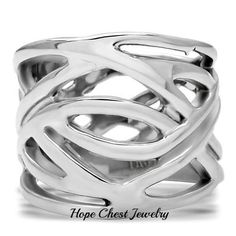 WOMEN'S STAINLESS STEEL INTERTWINED DESIGN FASHION WIDE BAND RING SIZE 5-10 #HopeChestJewelry #Band $11.59 with free shipping.