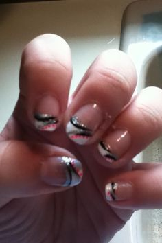 French manicure with colorful designs :)