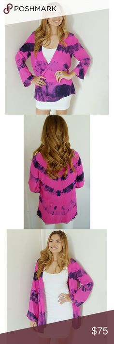??HOST PICK??CHLOE OLIVER | Silk Kimono ~ Hot pink and purple tie dye ???? ~ So silky soft! ~ Excellent statement piece  ~ Fits size X-Small to Medium ~ Only worn once ~ In perfect condition  ~ Brand: Chloe Oliver. NOT Anthropology. Used for exposure only  ~ Reasonable offers accepted!  ~ Custom bundle discounts available. Just ask!! ?? Anthropologie Tops Blouses