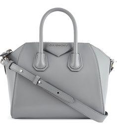 GIVENCHY Mini Antigona smooth leather tote in pearl grey