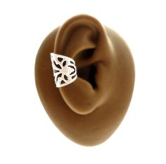 White Filigree Ear Cuff  Powder Coated