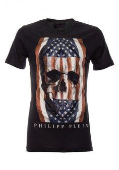 Philipp Plein - 'American Flag' T-Shirt Black Front (SS14-HM341790)