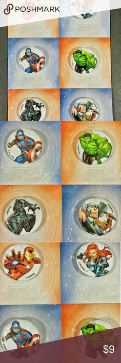 Marvel Avengers Mini Buttons, 6 pk Card 6 Mini Buttons,  Marvel Avengers Each on its own square card that can easily be torn off the set. Great accessory for bags, lunchboxes, anything! Also, great goody for collectors and seamstresses~  Each button is approx 1 inch in circumference  New, No plastic wrap but never taken off of cards!  Don't forget to check my page for additional listings and SAVE with BUNDLED packages! Marvel Accessories