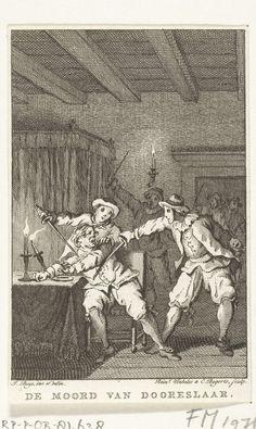 Reinier Vinkeles | Moord op Doreslaer, 1649, Reinier Vinkeles, Cornelis Bogerts, 1780 - 1795 | De moord gepleegd op de Engelse gezant Isaäc Doreslaer door een groep gemaskerde mannen te 's-Gravenhage, 12 mei 1649.