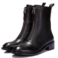 68.15$  Buy here - http://ali6v5.worldwells.pw/go.php?t=32429650964 - Women Genuine Leather Microfiber Ankle Boots Zipper Closure Chunky Flat Heels Spring Autumn Shoes Platform Snow Style Boots 68.15$