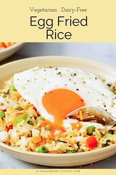 This quick and easy egg fried rice recipe is simple to make and so delicious. It's like Chinese restaurant-style fried rice, but healthier and made at home! #friedrice #easy #chinese Rice Recipes, Brunch Recipes, Healthy Recipes, Pan Green Beans, Cooking Jasmine Rice, Clean And Delicious, Dairy Free Eggs, Low Sodium Soy Sauce, Sauteed Vegetables