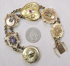 Victorian MASSIVE Slide Bracelet With Nouveau Locket Clasp