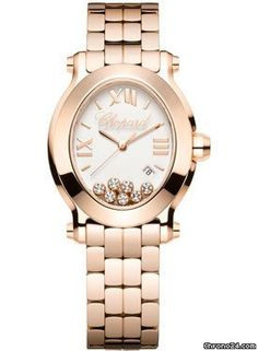 Chopard Happy Sport Oval $24,480 #Chopard #watch #watches #chronograph Medium size 18K rose gold case with 7 mobile diamonds.