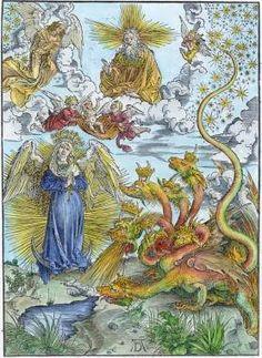 Grabado en madera de la serie de Apocalipsis de Durero, 1511, mostrando a la Bestia con siete cabezas..jpg