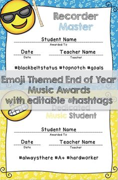 Reward your students for their hard work! Includes 24 premade award titles with 3 editable hashtags plus 22 blank editable award templates that you can personalize yourself. Color and black & white versions available. Music Room Organization, Award Template, Dream Music, Teacher Name, End Of Year, Elementary Music, Music Classroom, Teaching Music, Music Lessons