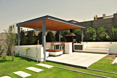 Pergola For Small Backyard Info: 6188793171 Outdoor Rooms, Backyard Design, Modern Pergola, Patio Design, Pool Houses, Outdoor Kitchen Design, Outdoor Design, Outdoor Kitchen, Modern Gazebo