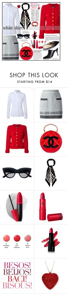 """""""Not-so-basic White Shirt"""" by kleinwillwin ❤ liked on Polyvore featuring ESCADA, Chanel, 3.1 Phillip Lim, Rockins, Revlon, Lipstick Queen, MAC Cosmetics, Latelita and WardrobeStaples"""