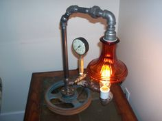 Repurposed Iron Pipe Steampunk Lamp by 802Lantern on Etsy, $310.00