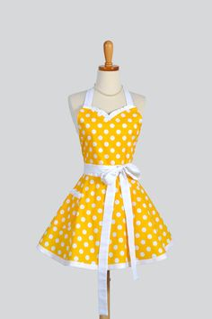 Sweetheart Retro Apron / Handmade Womens Full Kitchen Apron in Yellow and White Large Polka Dot