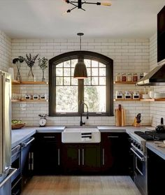 6 Victorious Tips: Farmhouse Kitchen Remodel Cabinets u shaped kitchen remodel pictures.U Shaped Kitchen Remodel Pictures kitchen remodel granite quartz countertops.Old Kitchen Remodel Apartment Therapy. Farmhouse Kitchen Cabinets, Modern Farmhouse Kitchens, Country Kitchen, Home Kitchens, Kitchen Black, Kitchen Sink, Farmhouse Decor, Kitchen Backsplash, Kitchen Countertops