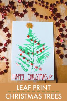 Leaf print Christmas tree craft for forest school Christmas activities Unique Christmas Cards, Christmas Crafts For Kids, Christmas Greeting Cards, Simple Christmas, Christmas Greetings, Christmas Themes, Christmas Activities For Kids, Art Activities For Kids, Fun Crafts For Kids