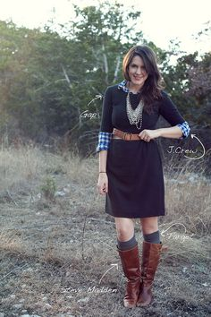 I like the flannel shirt under a plain solid color dress with cowboy boots