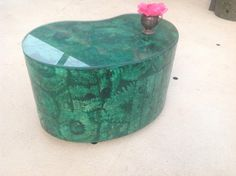 FAUX MALACHITE SIDE Table Hand Painted Trompe by RetroDaisyGirl