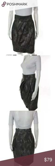 Hoss Intropia tulip skirt nwt Sz 6 pewter Metallic tulip high waisted skirt nwt hoss Skirts Mini