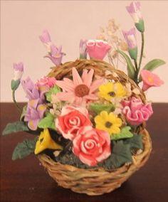 For Sale$12.99  Miniature Dollhouse Flowers in   Basket   #Dollhouse # Miniature Furniture