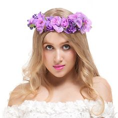 Valdler Exquisite Camellia Berries Flower Crown with Adjustable Ribbon for Wedding Festivals Purple ** Check this awesome product by going to the link at the image.