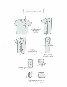 An illustration on how to fold a short sleeve shirt like a pro. From Spark Joy by Marie Kondo that shows how to fold a shirt with short sleeves the KonMari way. Organisation Hacks, Closet Organization, Organizing Tips, Organising, Marie Kondo Buch, Konmari Method Folding, Organizar Closet, Tidy Up, Architectural Digest