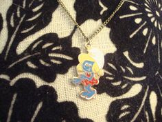 Vintage 80's The Smurfs Smurfette Blonde Cartoon Necklace CUTE