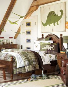 I like the idea of doing a boys room in something other than blue. The greens and browns in this room seem like they could grow with a young boy into the preteen years.