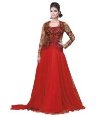 Fabfiza Red Georgette Anarkali Semi Stitched Dress Material