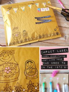 cute ideas to decorate the ugly package!  Love the bunting!!!
